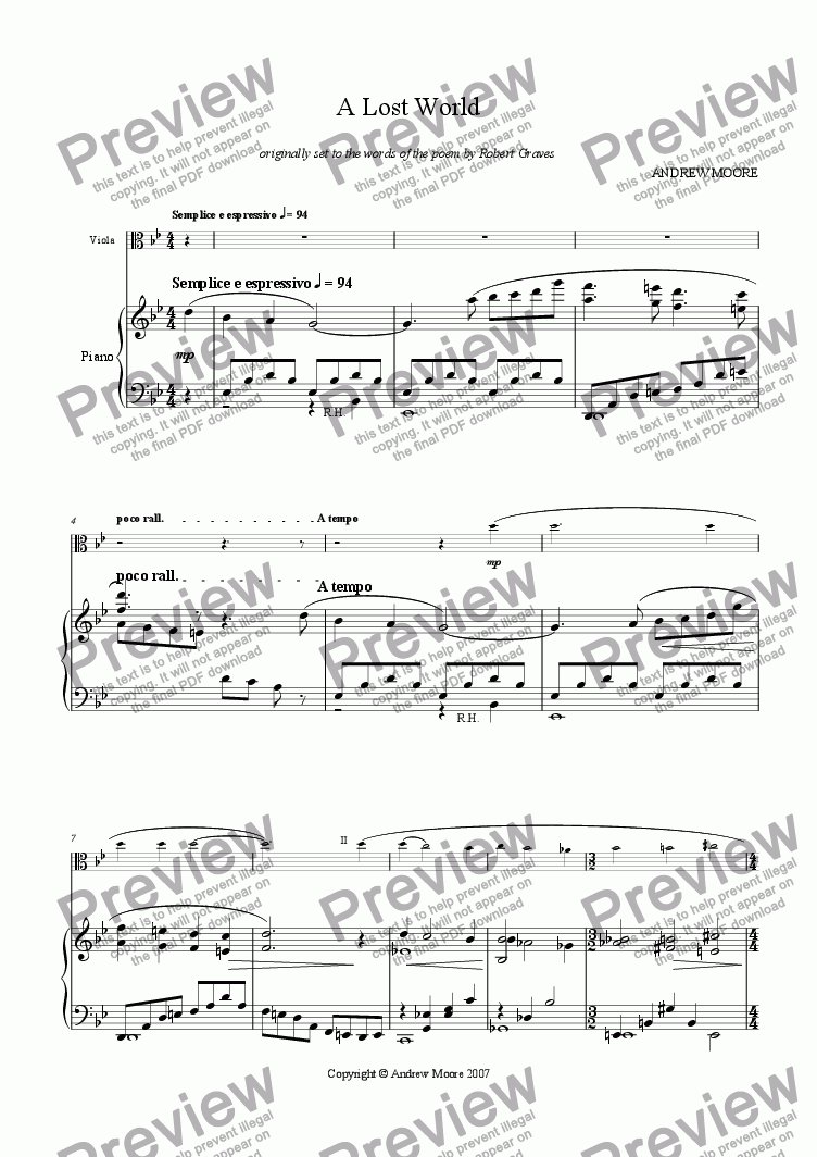 page one of 'A Lost World' for Viola and Piano