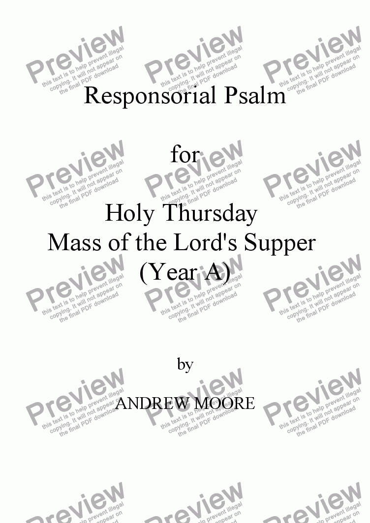 page one of Holy Thursday  / Maundy Thursday (Year A)