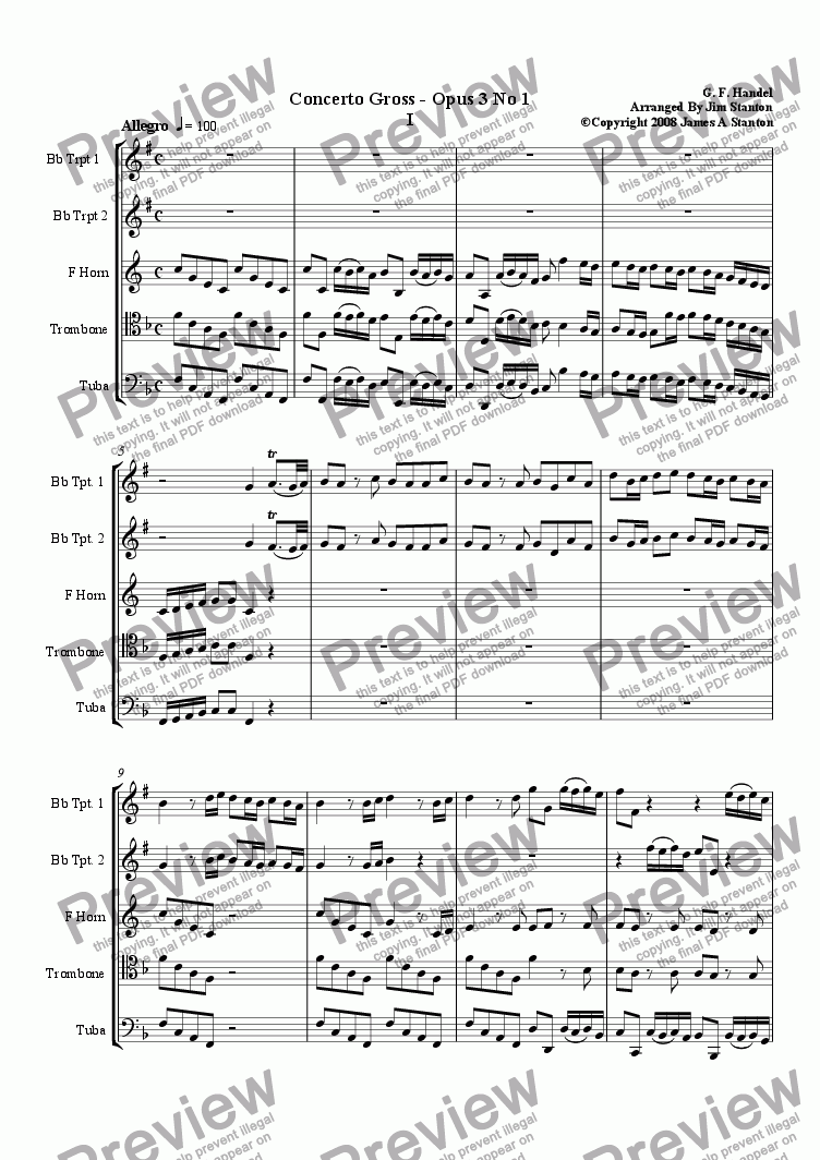 page one of Handel - Concerto Grosso Opus 3 No1 for Brass Quintet