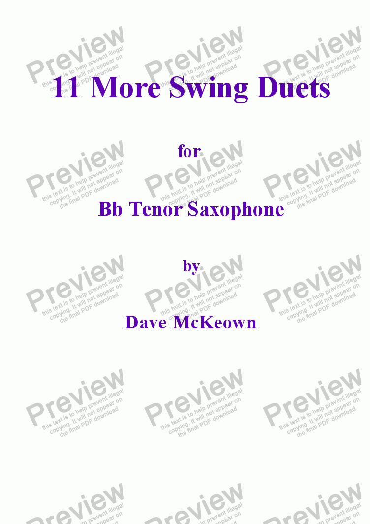 page one of 11 More Swing Duets for Tenor Saxophone