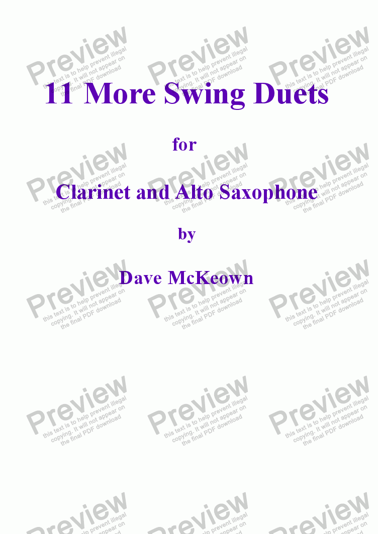 page one of 11 More Swing Duets for Clarinet and Alto Saxophone
