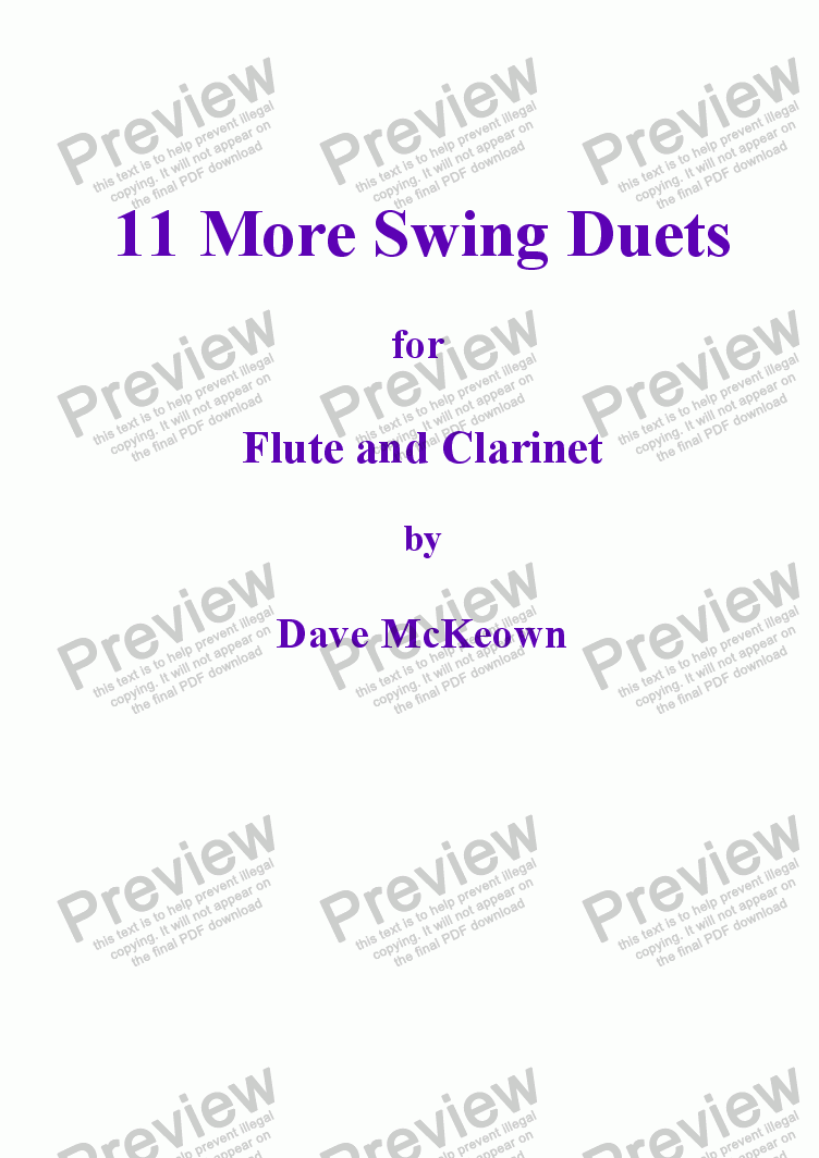 page one of 11 More Swing Duets for Flute and Clarinet