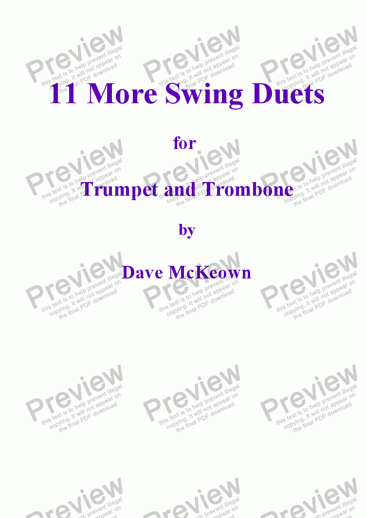 page one of 11 More Swing Duets for Trumpet and Trombone