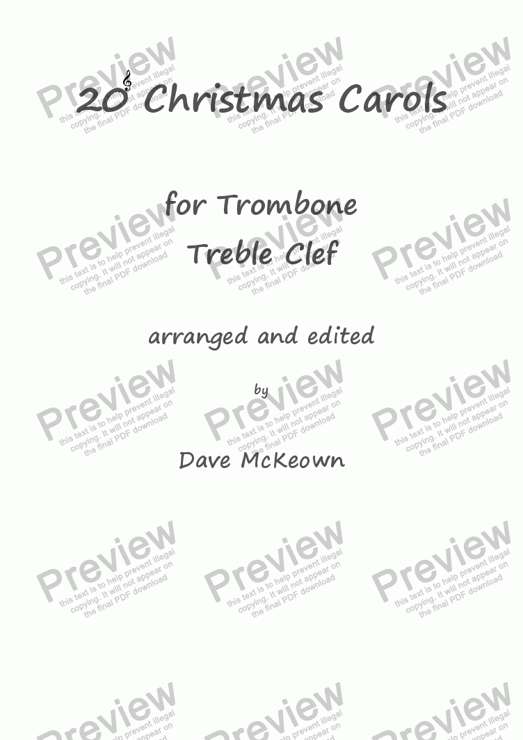 page one of  20 Favourite Christmas Carols for Trombone, Treble Clef