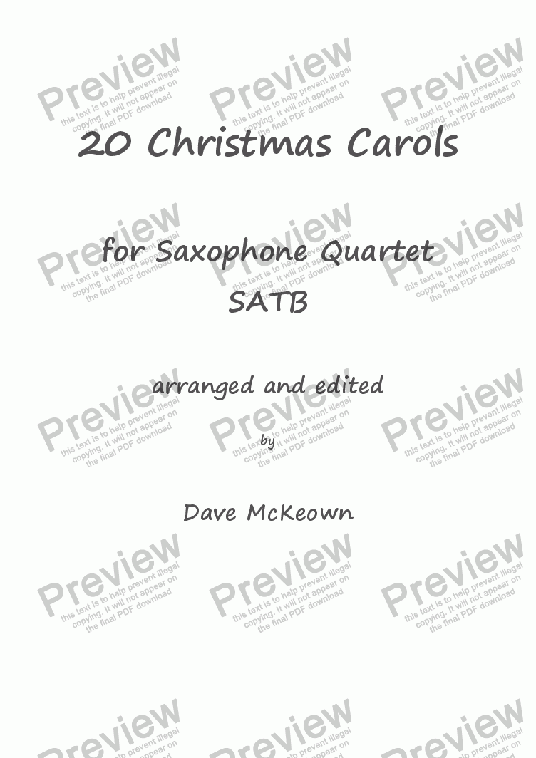 page one of  20 Favourite Christmas Carols for Saxophone Quartet, SATB or AAAT