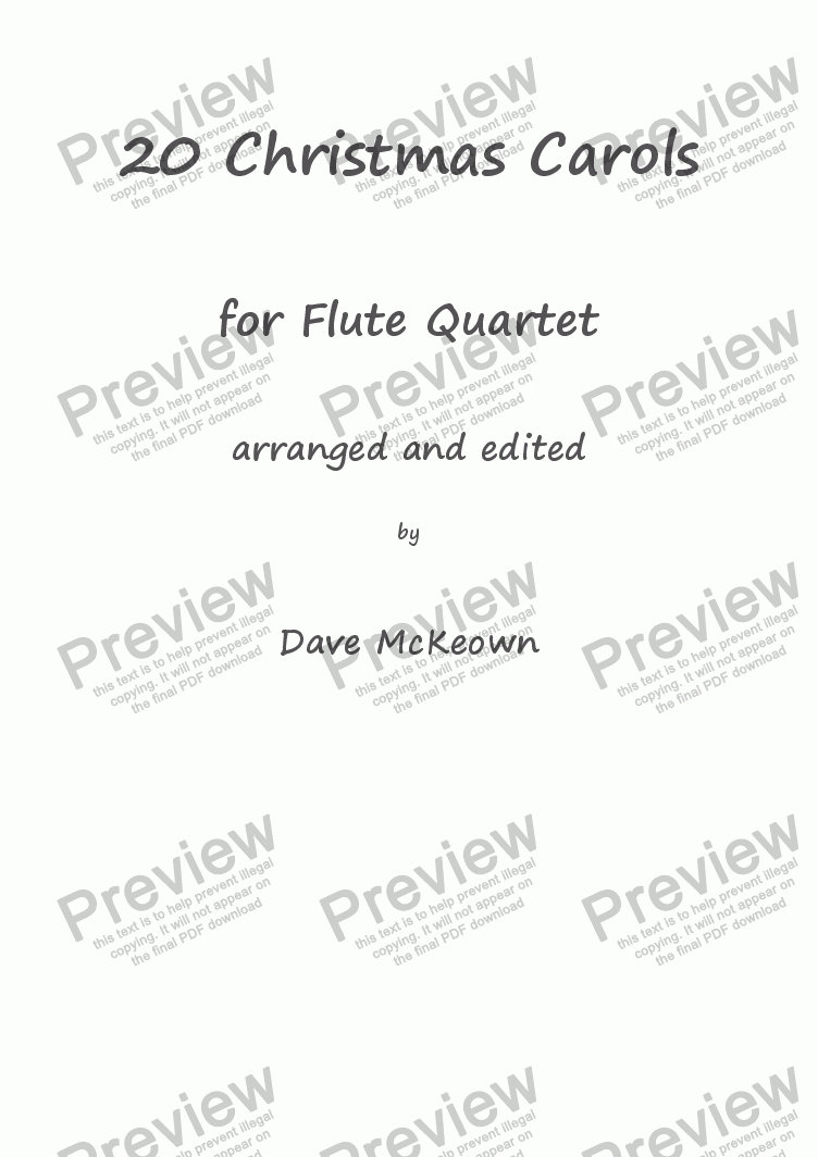 20 Favourite Christmas Carols for Flute Quartet - Download PDF file