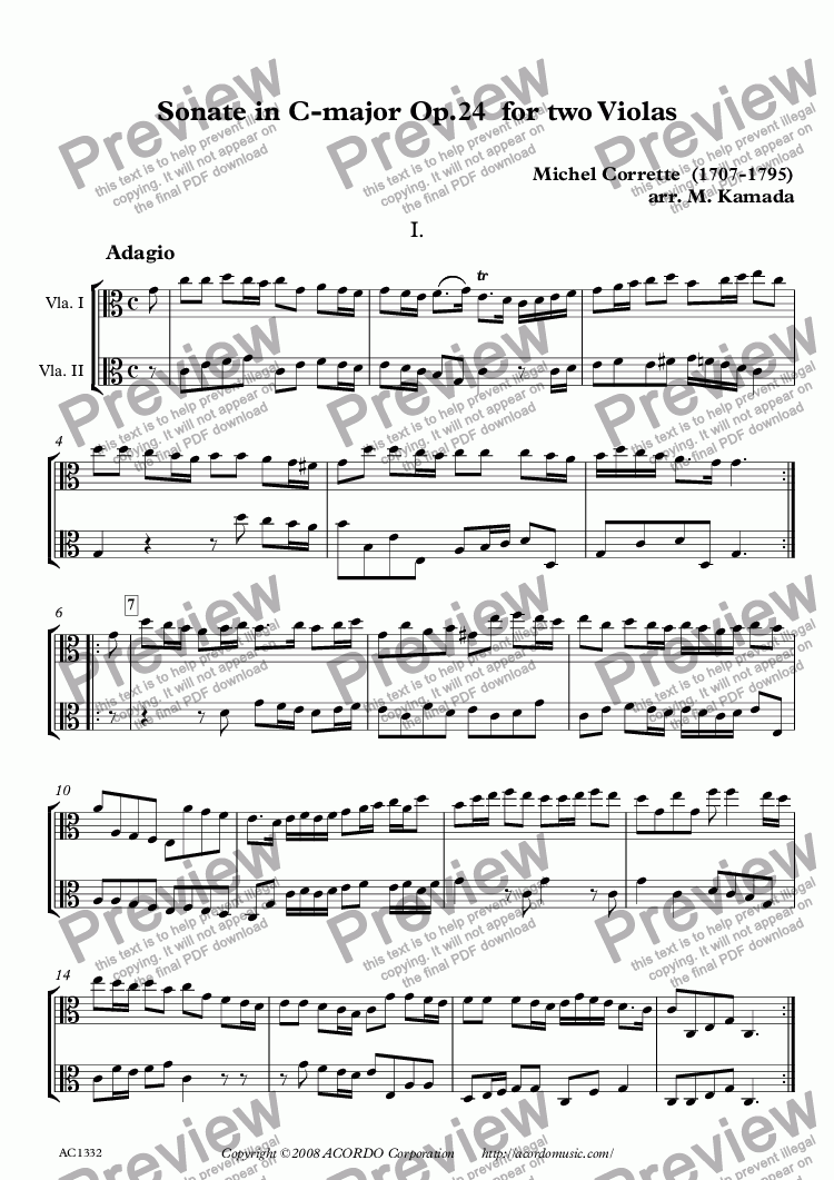 page one of Sonate in C-major Op.24 for two Violas