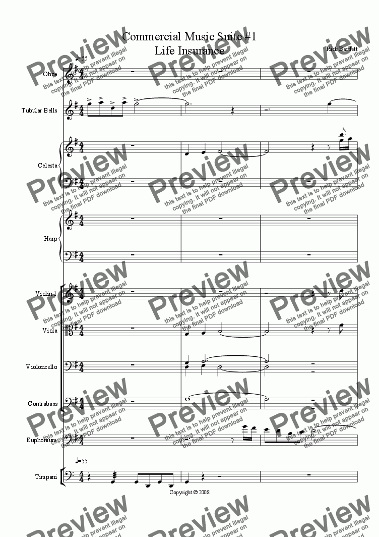 page one of Commercial Music Suite #1 (Life Insurance)