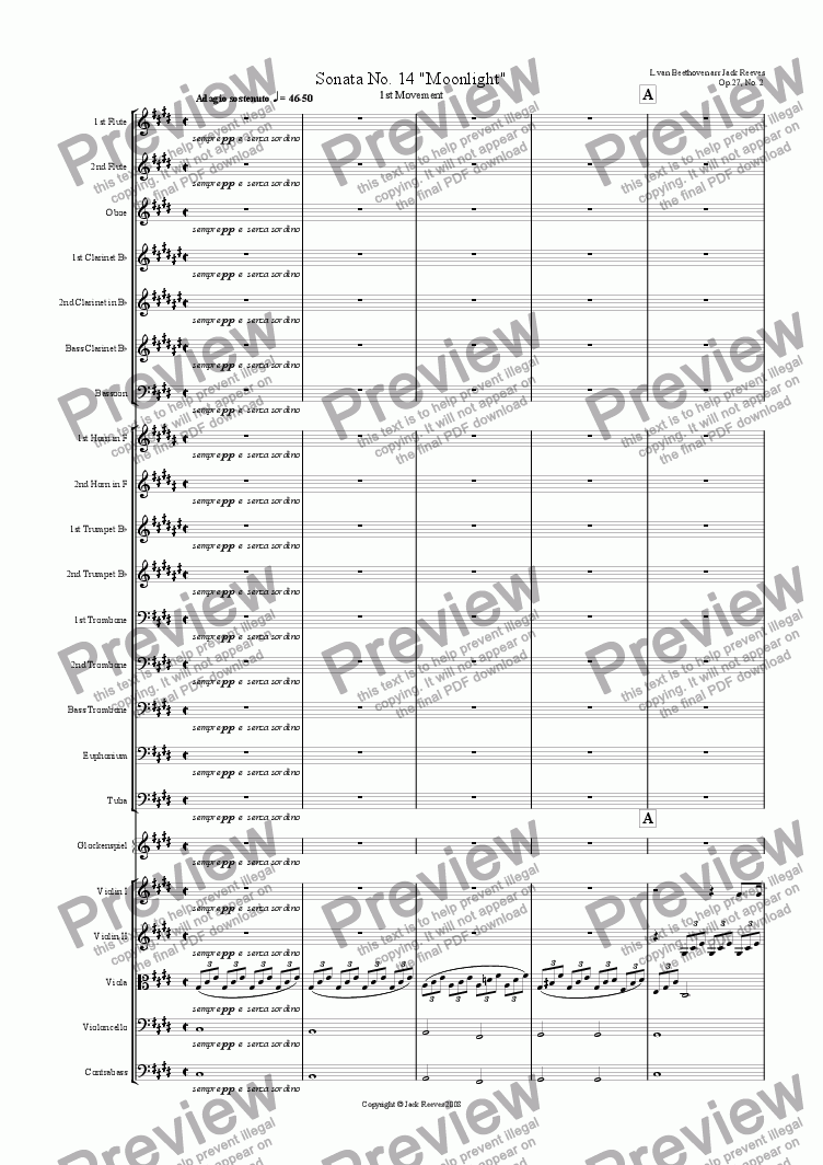 Moonlight Sonata - 1st Movement (C# Minor) - Orchestra for Orchestra by  Ludwig Van Beethoven - Sheet Music PDF file to download