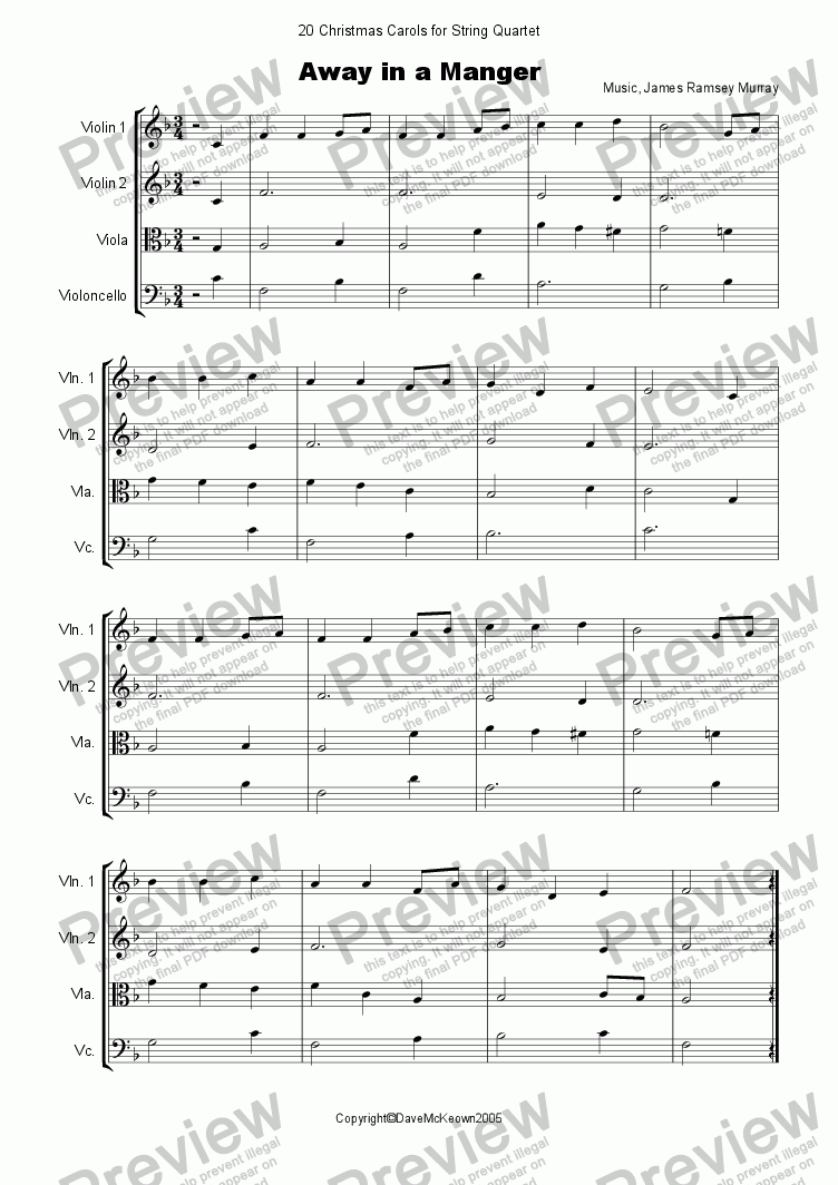 20 Favourite Christmas Carols for String Quartet - Download PDF file
