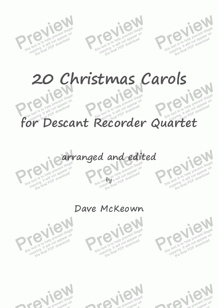 page one of  20 Favourite Christmas Carols for Descant Recorder Quartet