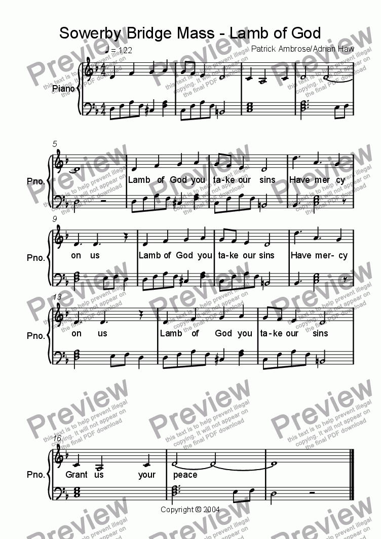 page one of Sowerby Bridge Mass - Lamb of God