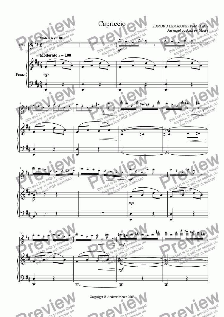page one of 'Capriccio' for flute and piano