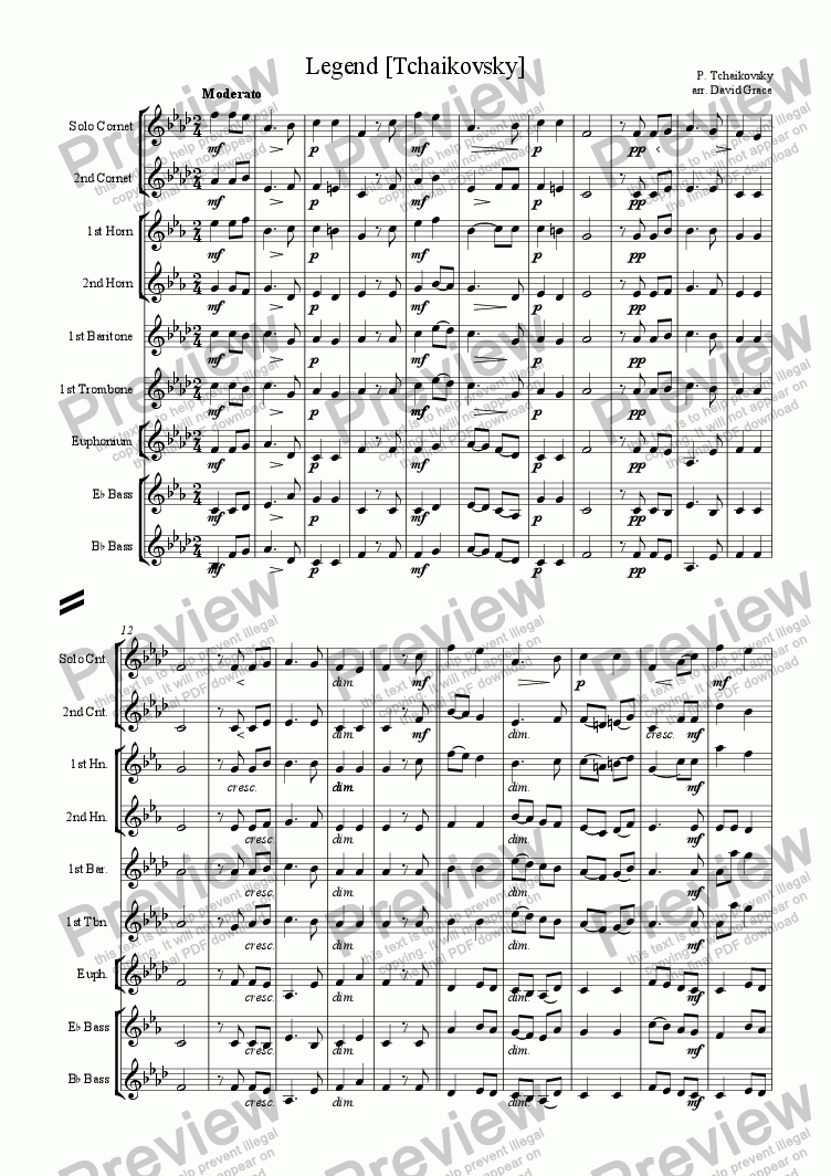 page one of Legend [Tchaikovsky]