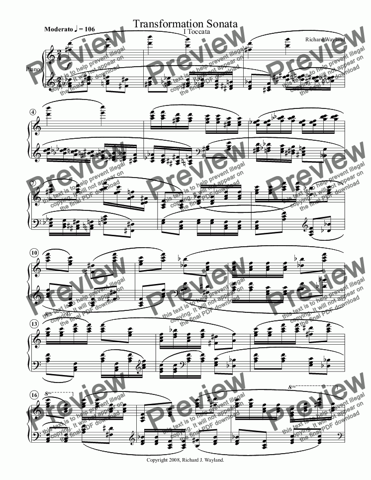 page one of Transformation Sonata