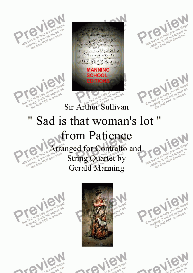 "page one of Gilbert & Sullivan - Songs from the Savoy Operas - Patience - "" Sad is that woman's lot "" - arranged for Contralto and String Quartet by Gerald Manning"
