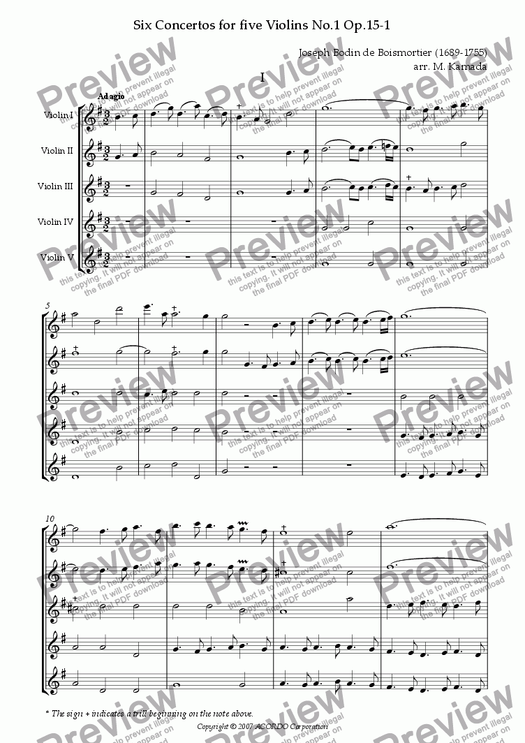 page one of Six Concertos No.1 for five Violins Op.15-1