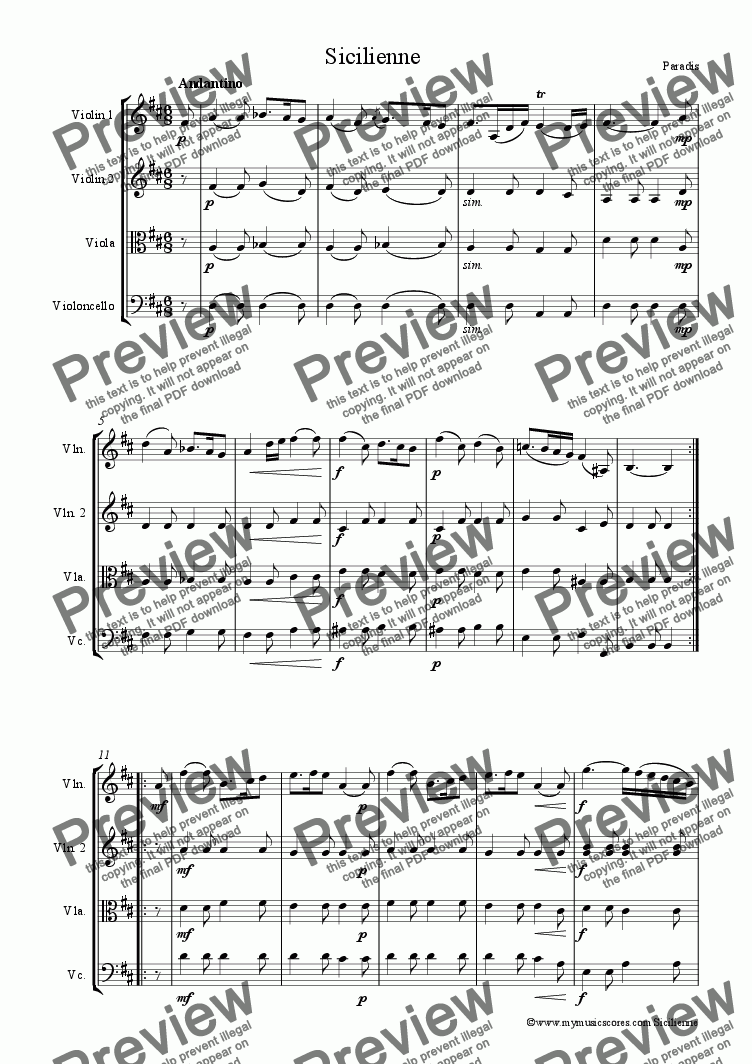 page one of Paradis Sicilienne for String Quartet