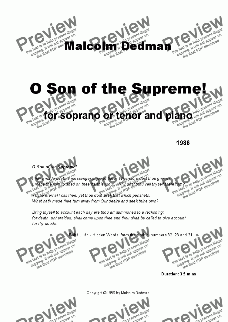 page one of O Son of the Supreme!