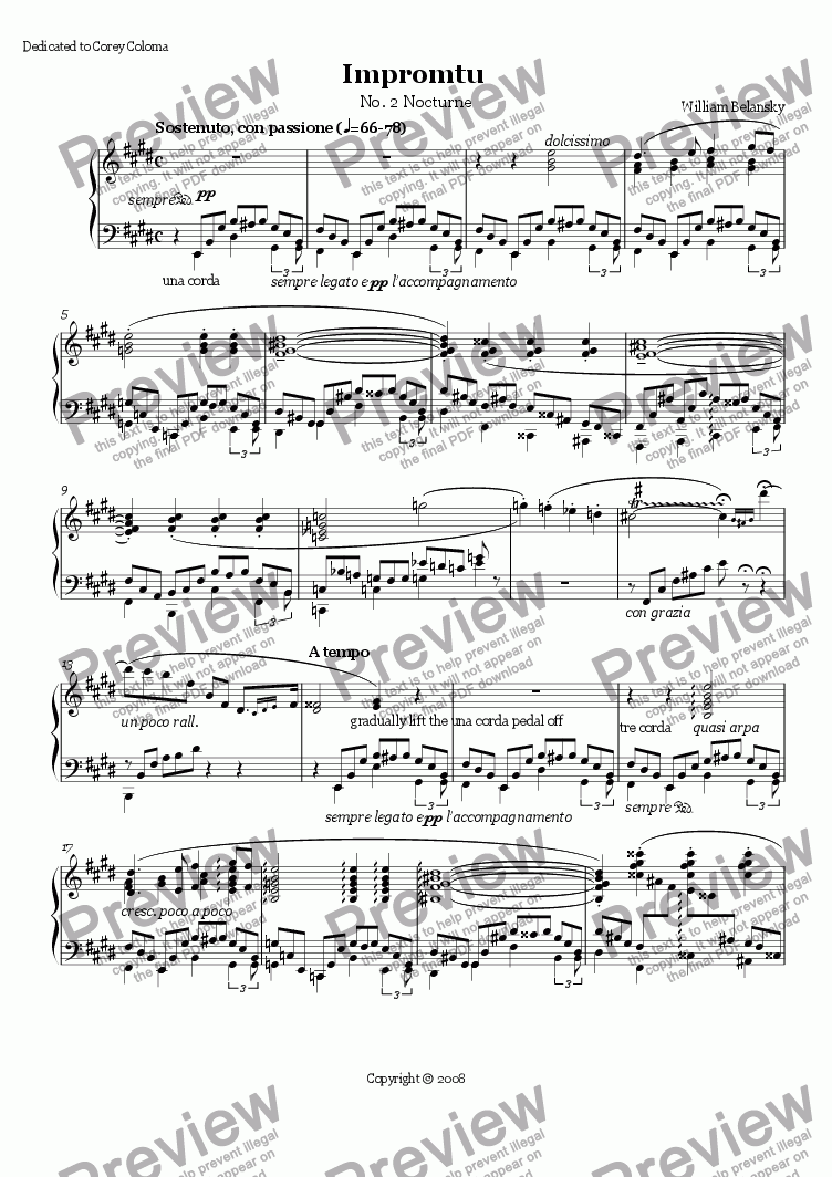"page one of Impromtu - ""Nocturne"""