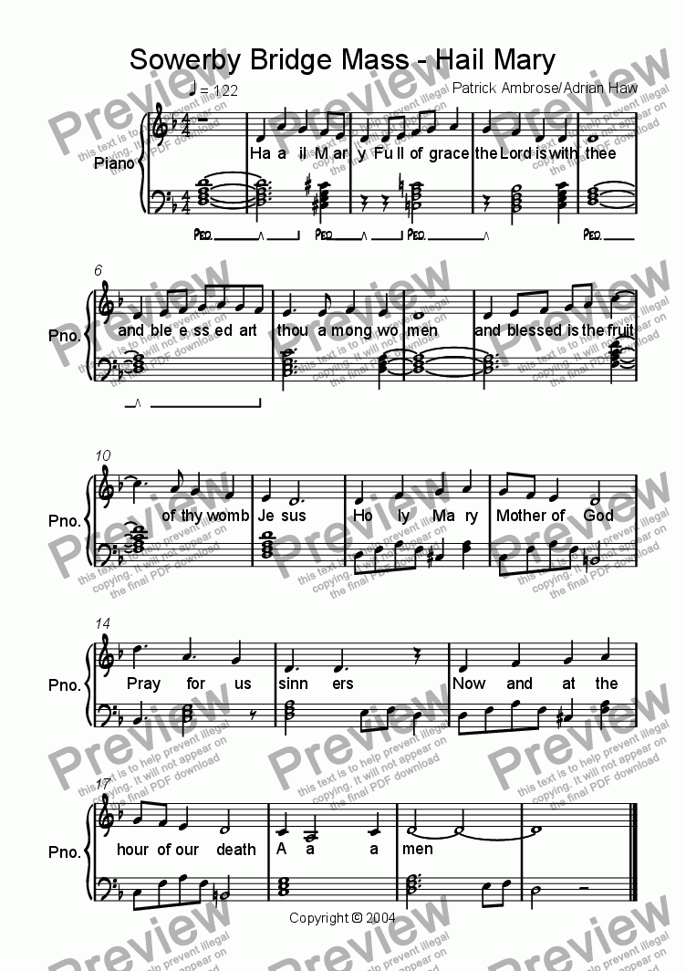Sowerby Bridge Mass - Hail Mary for Voice + keyboard by Patrick Ambrose -  Sheet Music PDF file to download