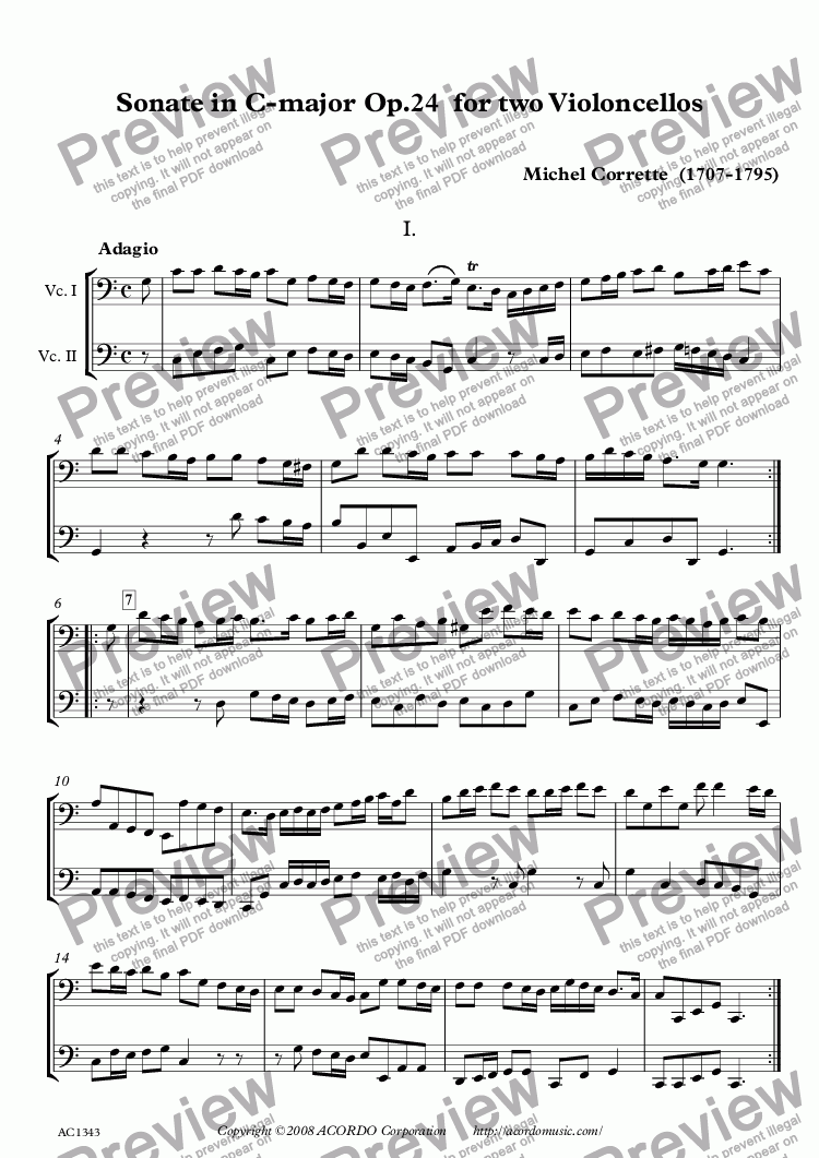page one of Sonate in C-major Op.24 for two Violoncellos