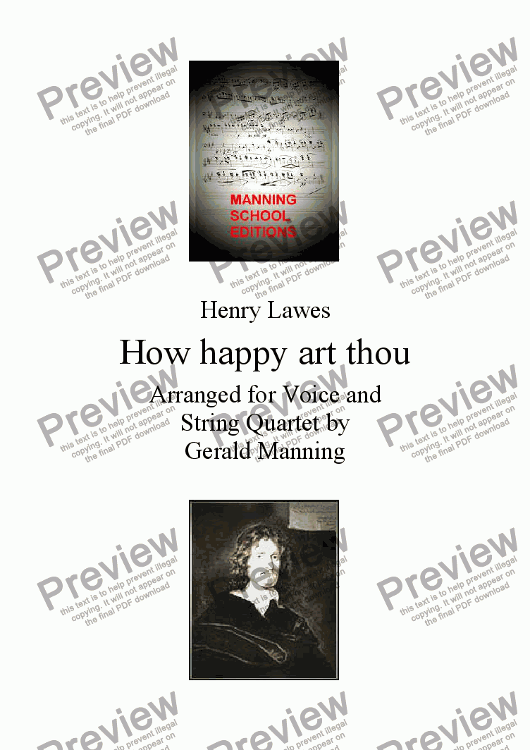 page one of English Song: Lawes, H. - How happy art thou - arranged for Voice & String Quartet by Gerald Manning
