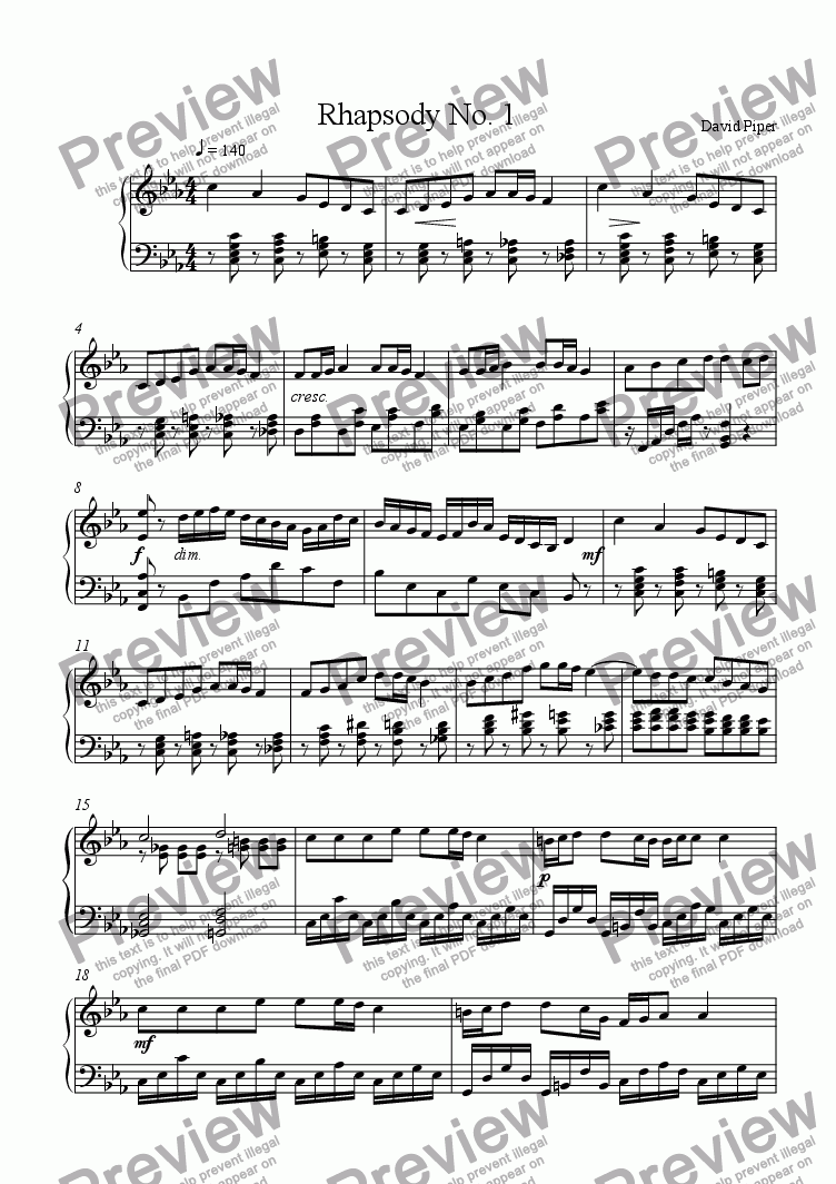page one of Rhapsody No. 1
