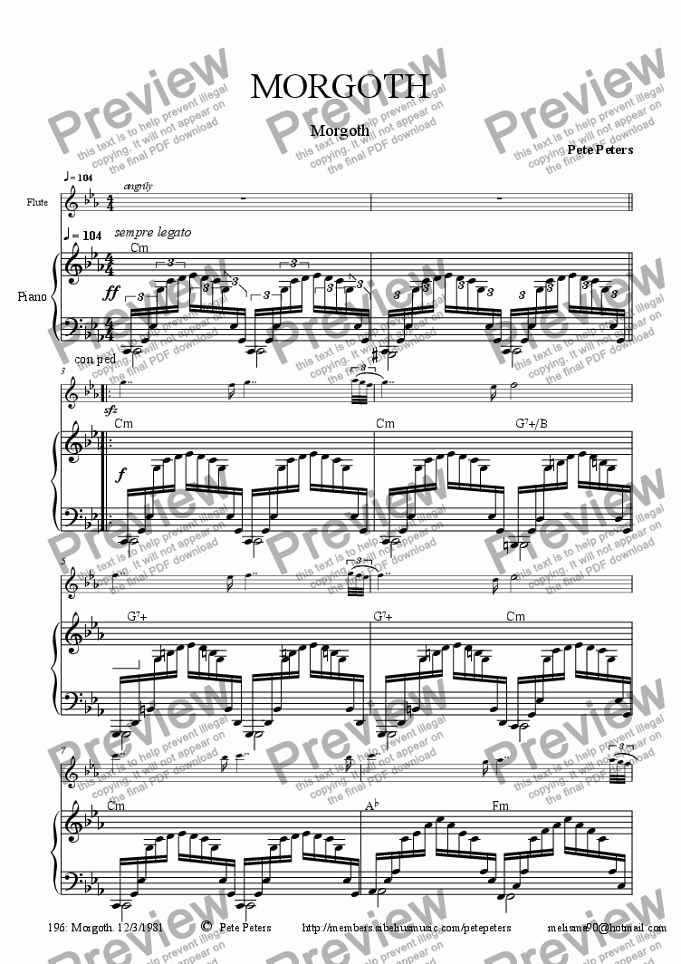 page one of Morgoth  [Flute + Piano]ASALTTEXT