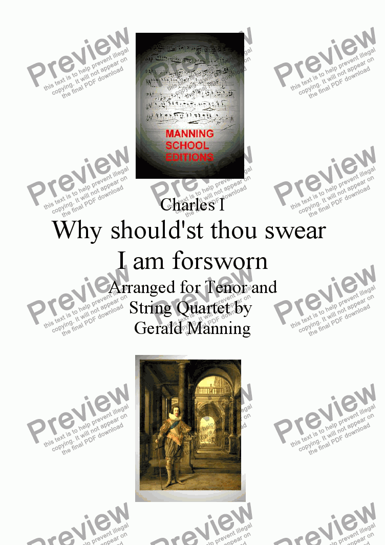 page one of English Song: Charles I - Why should'st thou swear I am forsworn - arranged for Tenor and String Quartet by Gerald ManningASALTTEXT