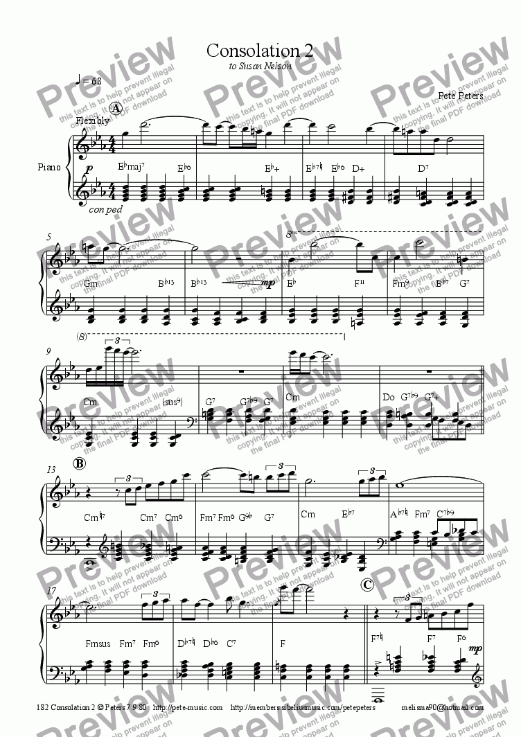 page one of Consolation 2  (Pete Peters)  [Rhodes Piano]