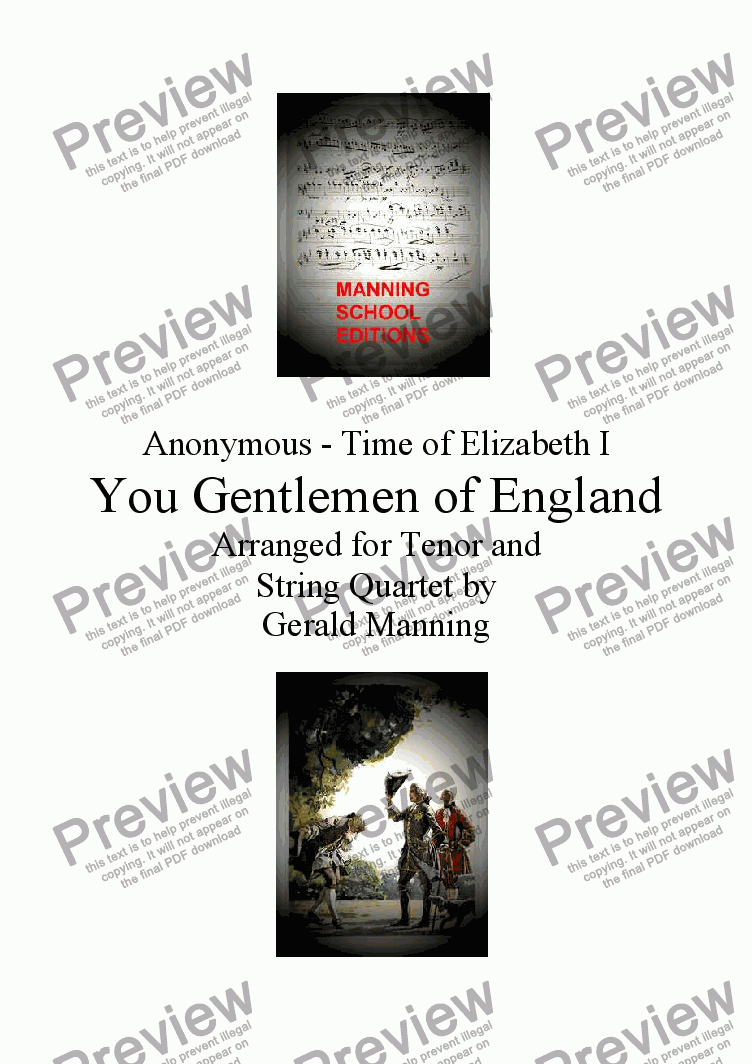 page one of English Song: Anonymous - You Gentlemen of England - arr. for Tenor & String Quartet by Gerald Manning