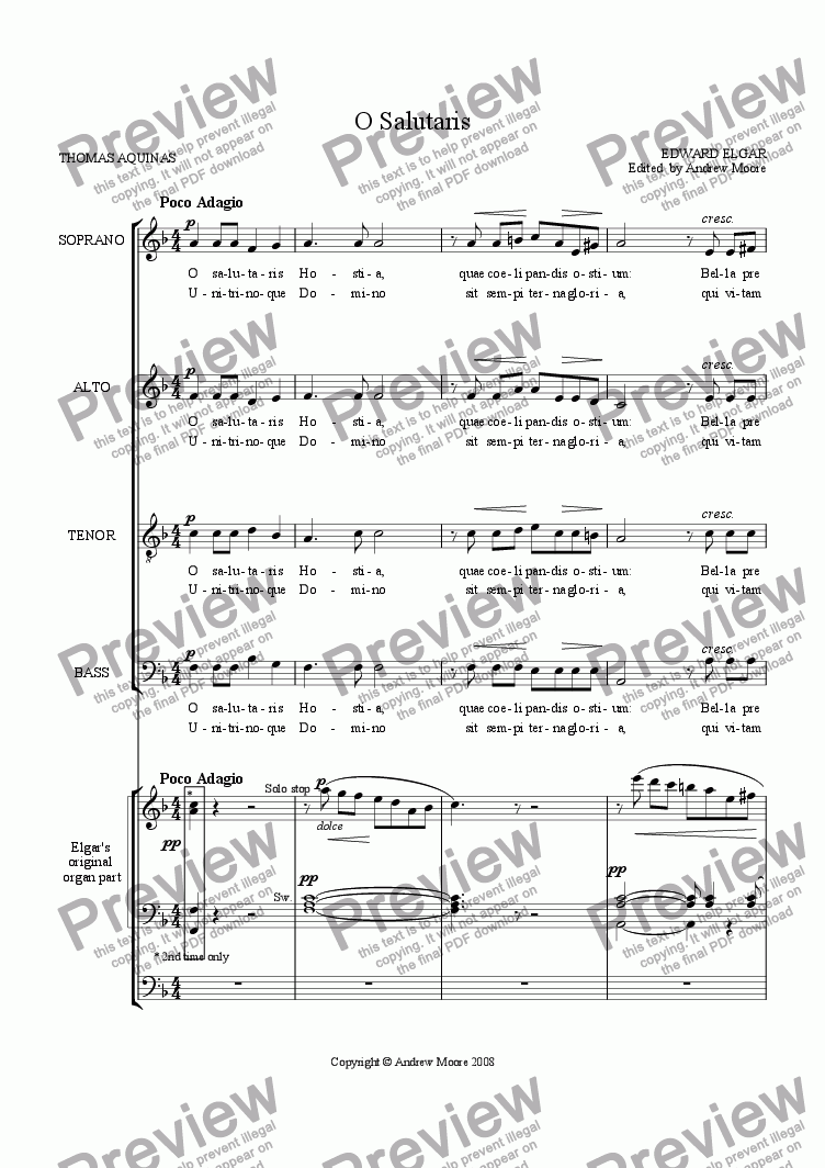 page one of 'O Salutaris Hostia' for SATB & organ