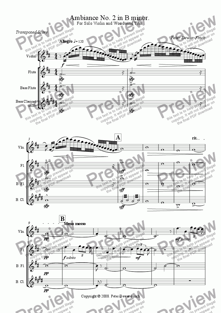 page one of Ambiance No. 2 in B minor for solo violin and woodwind