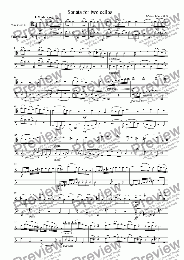 page one of Sonata for 2 cellosASALTTEXT