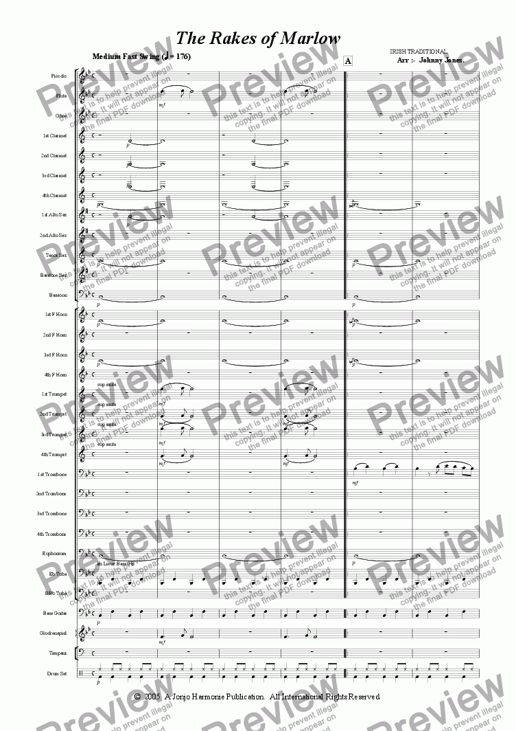 page one of Rakes of Marlow The   (Concert Windband, Swing Style)