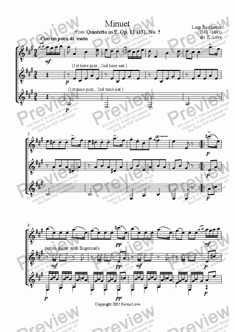 page one of Minuet (Trio)