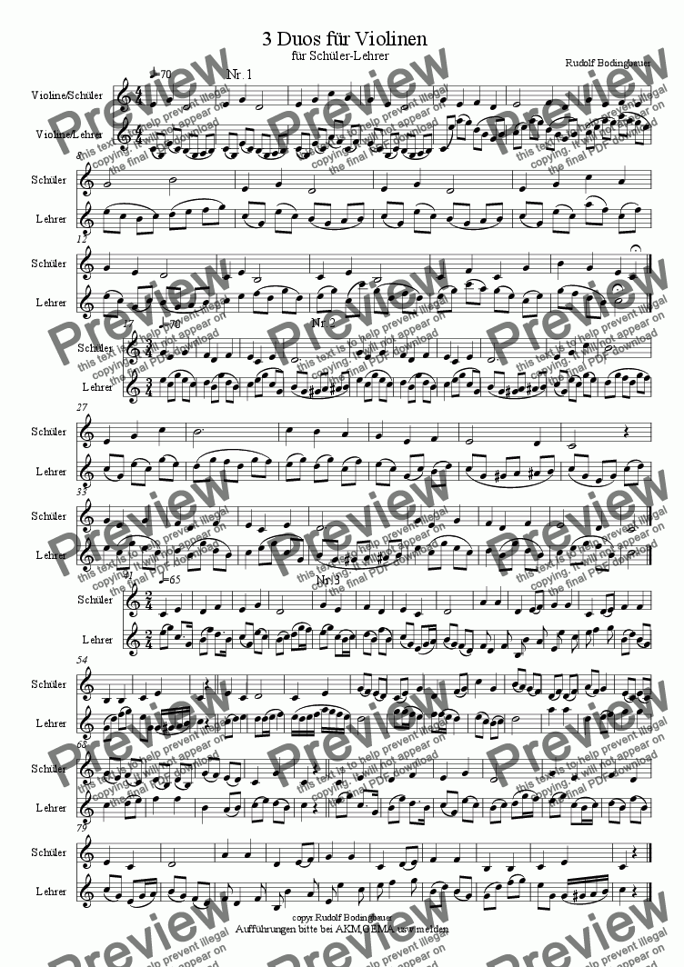 page one of 3 Duos f�r Violinen