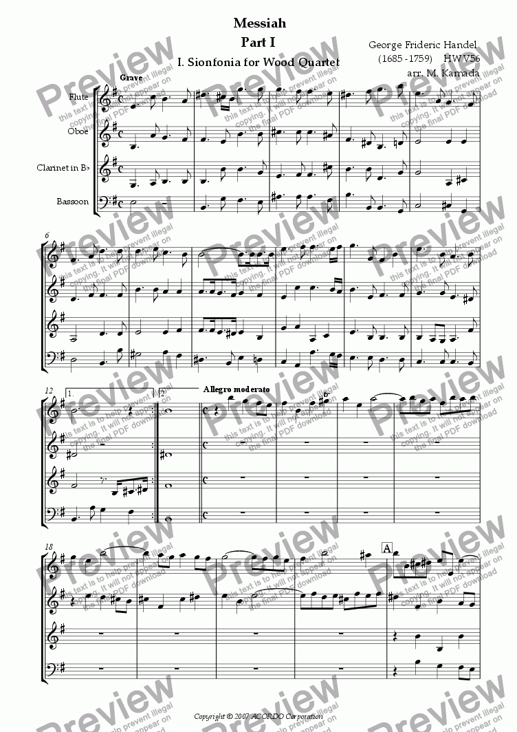 page one of Messiah Part-I 1.Sinfonia for Wood Quartet HWV56