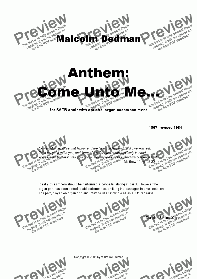 page one of Anthem -  'Come Unto Me'