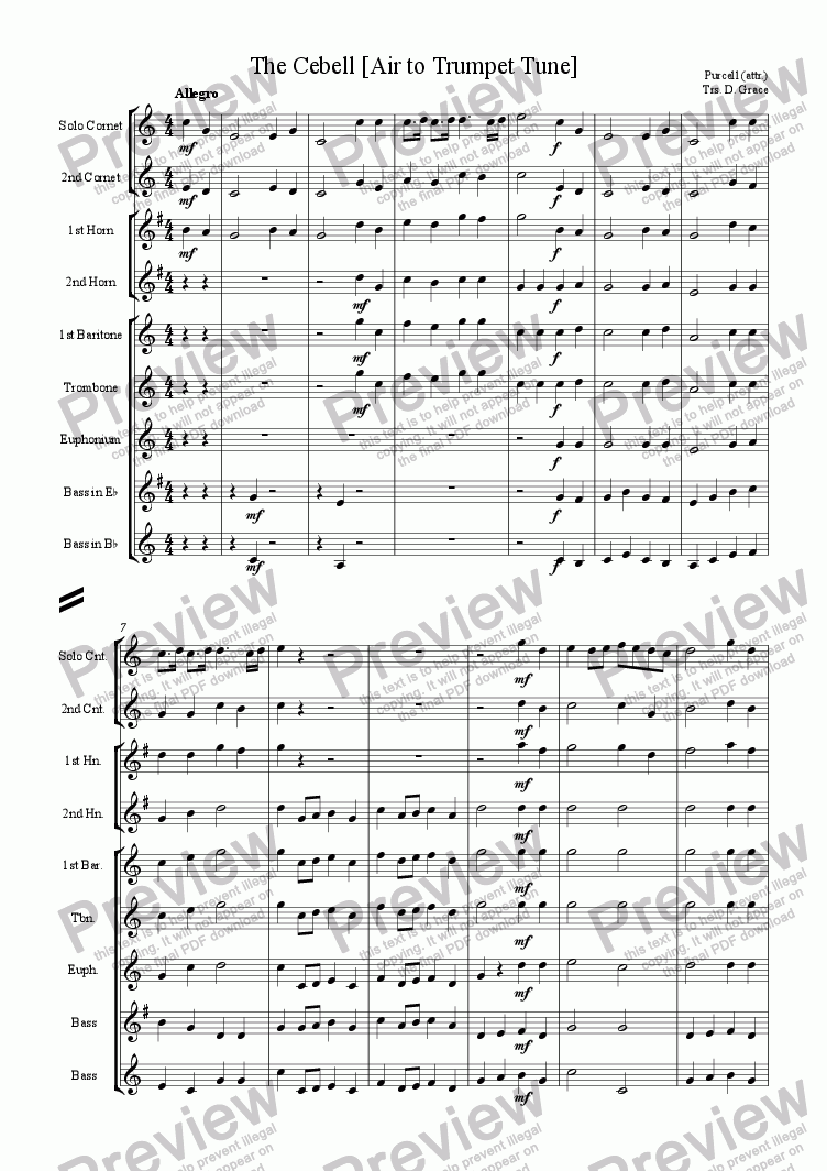 page one of Cebell [Air to Purcell's Trumpet Tune]