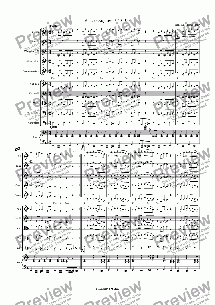 page one of My Klezmer Book 09 (Der Zug um 7.40 Uhr)