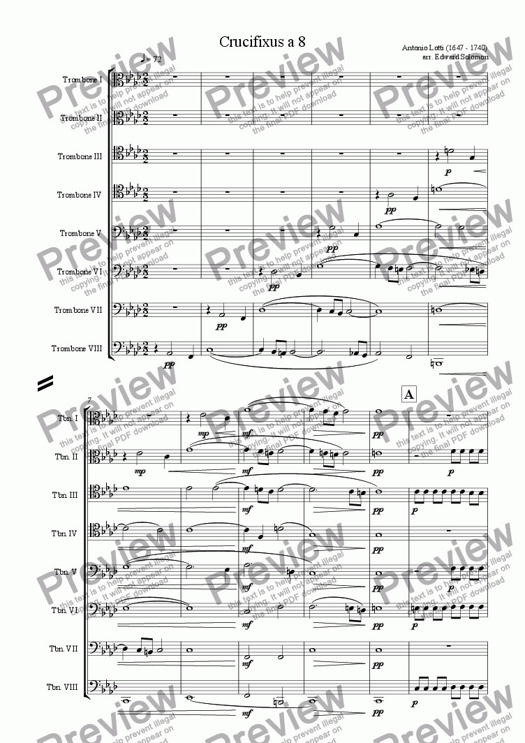 page one of Crucifixus a 8 for trombone octet
