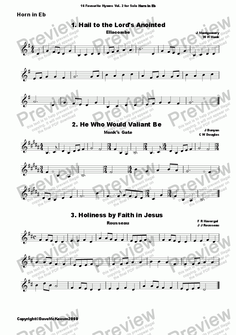 page one of  16 Favourite Hymns Vol.2 for Solo Horn in Eb and Piano