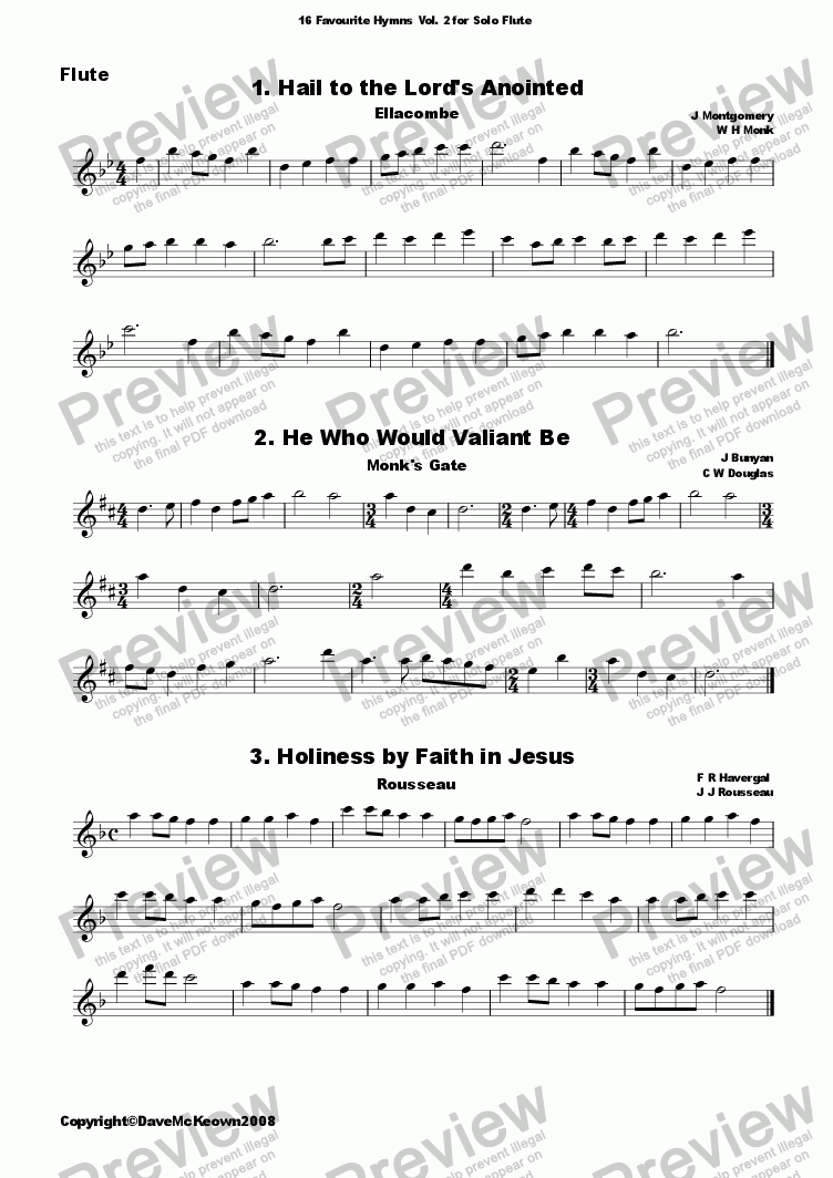 page one of  16 Favourite Hymns Vol.2 for Solo Flute and Piano