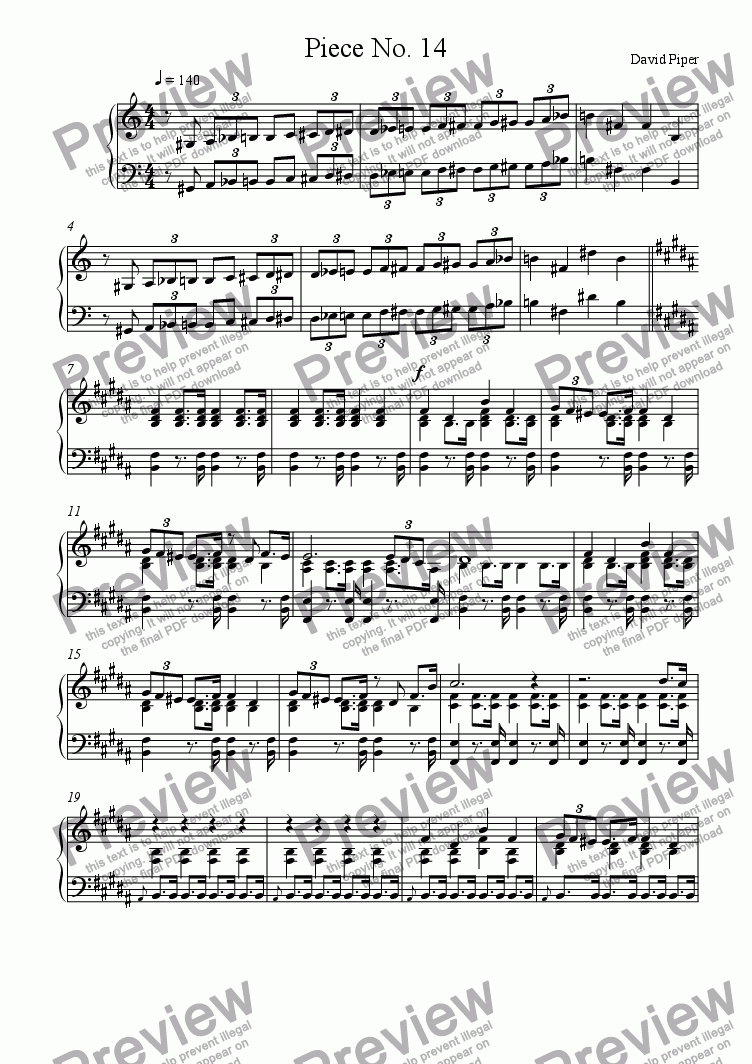 page one of Piece No. 14
