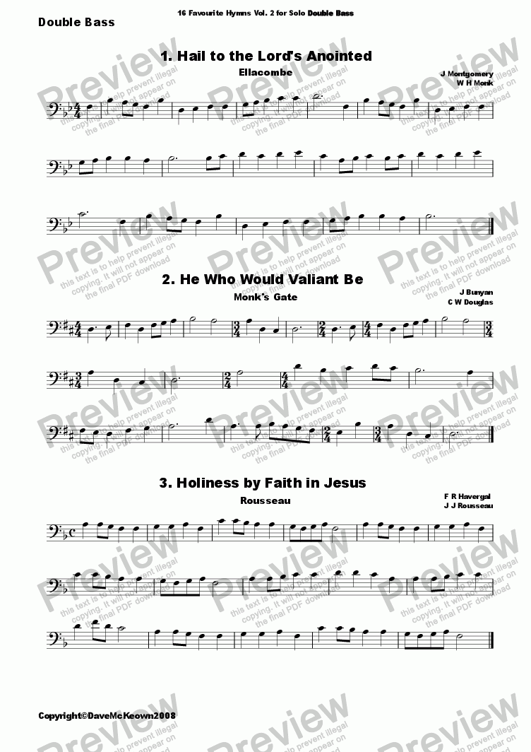 page one of  16 Favourite Hymns Vol.2 for Solo Double Bass and PianoASALTTEXT