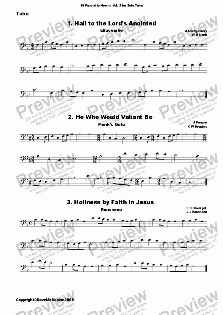 page one of  16 Favourite Hymns Vol.2 for Solo Tuba and Piano