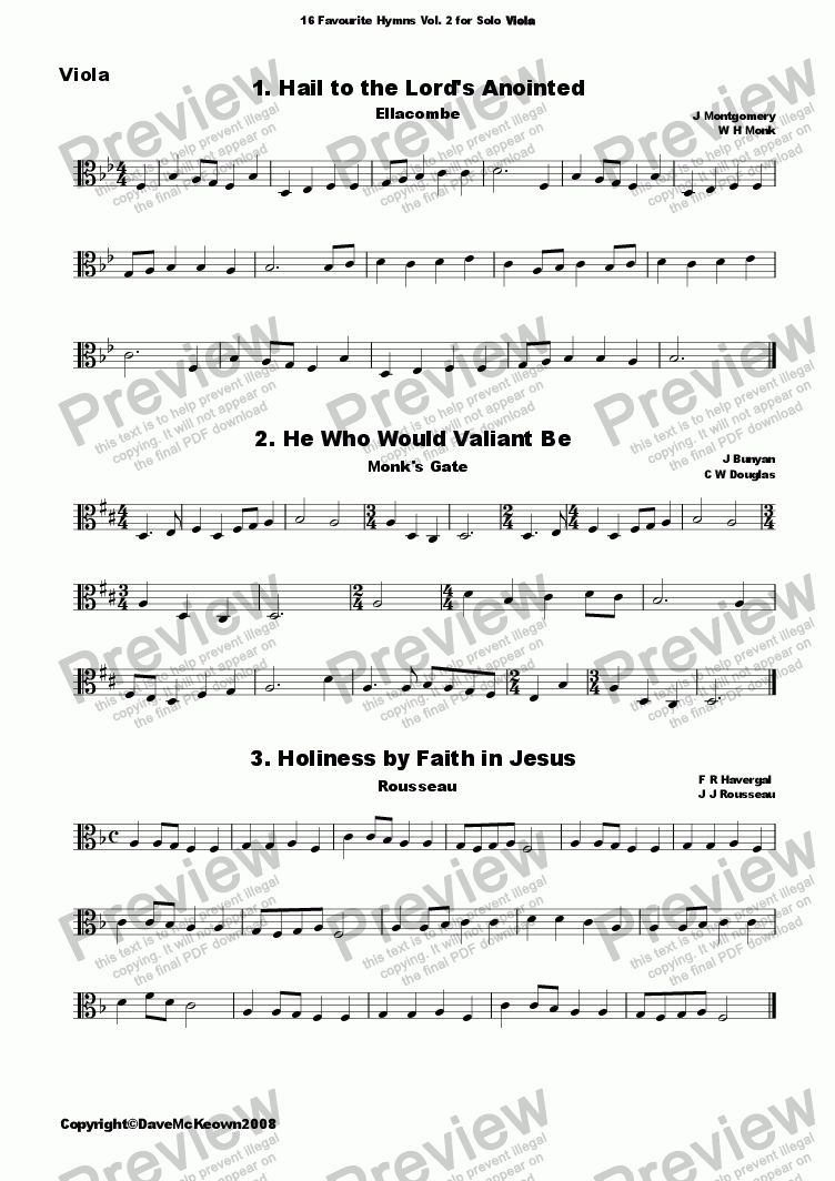 page one of  16 Favourite Hymns Vol.2 for Solo Viola and PianoASALTTEXT