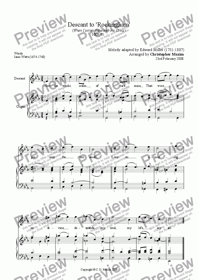 page one of Descant to 'Rockingham' (When I survey the wondrous Cross) (Eb major)ASALTTEXT